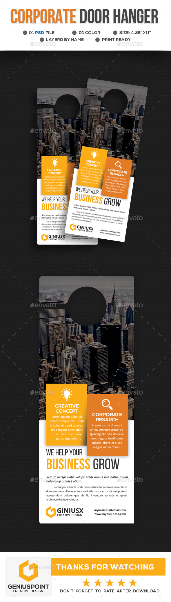 Corporate Door Hanger Template - Miscellaneous Print Templates