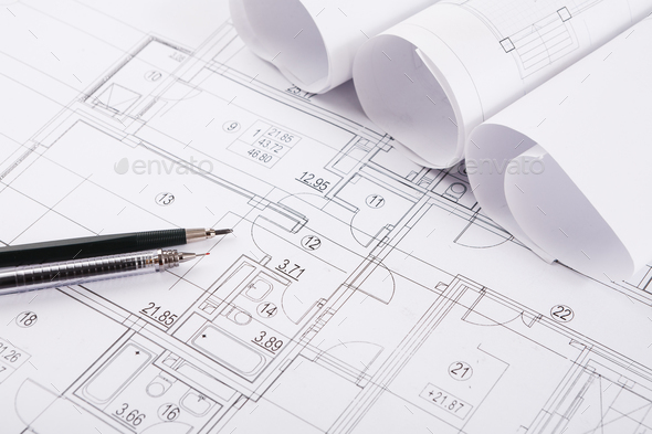 Architectural project, engineering tools on table. - Stock Photo - Images