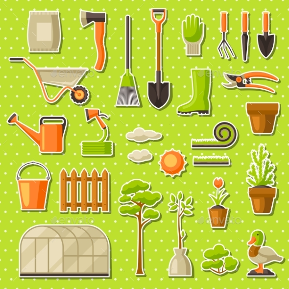 Set of Garden Tools and Items. Season Gardening - Flowers & Plants Nature