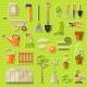 Set of Garden Tools and Items. Season Gardening