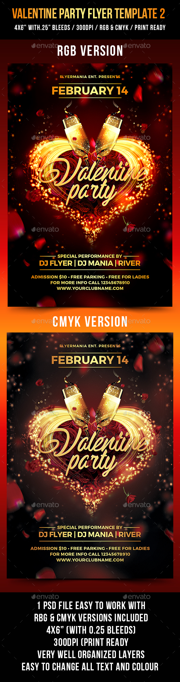Valentine Party Flyer Template 2 - Events Flyers