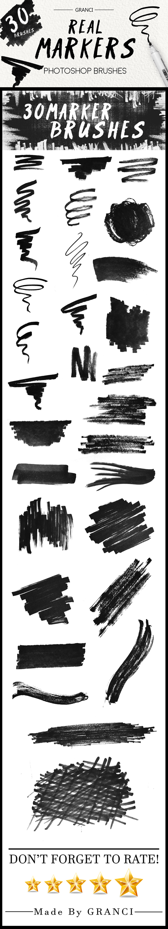 30 Real Marker Brushes - Artistic Brushes