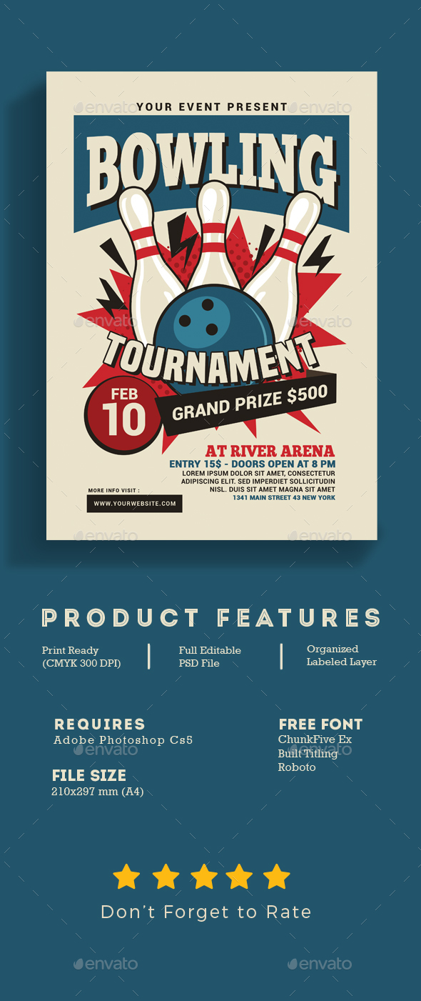 Bowling Tournament Flyer - Events Flyers