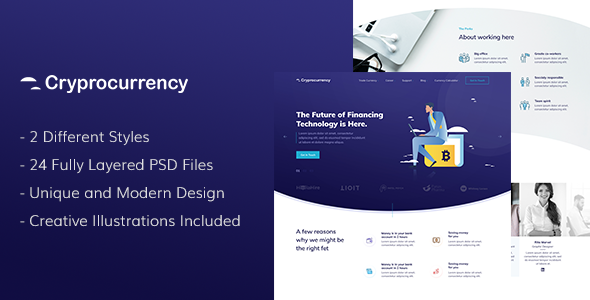 CryptoCurrency - PSD Template - Corporate PSD Templates