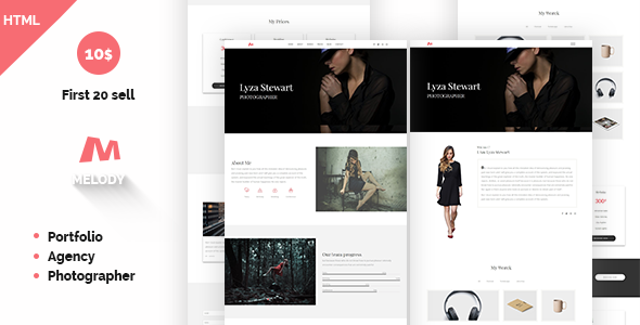 Image of Melody Photographer Agency One Page Template