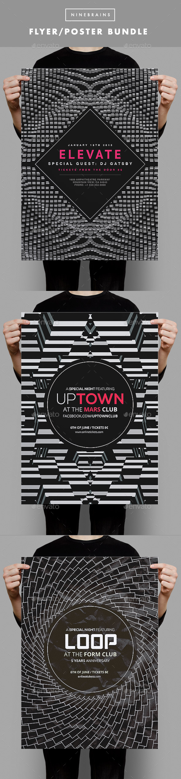 Black and White Flyer Bundle 1 - Clubs & Parties Events