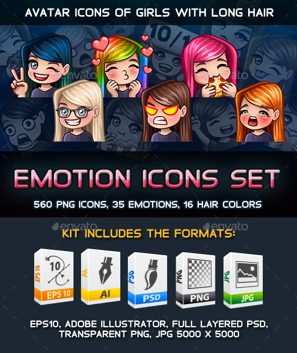 Emotion Female Icons with Long Hair Pack - People Characters
