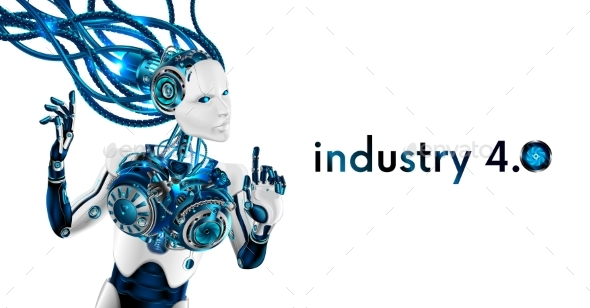 Robot Woman Isolated on White Background - Computers Technology