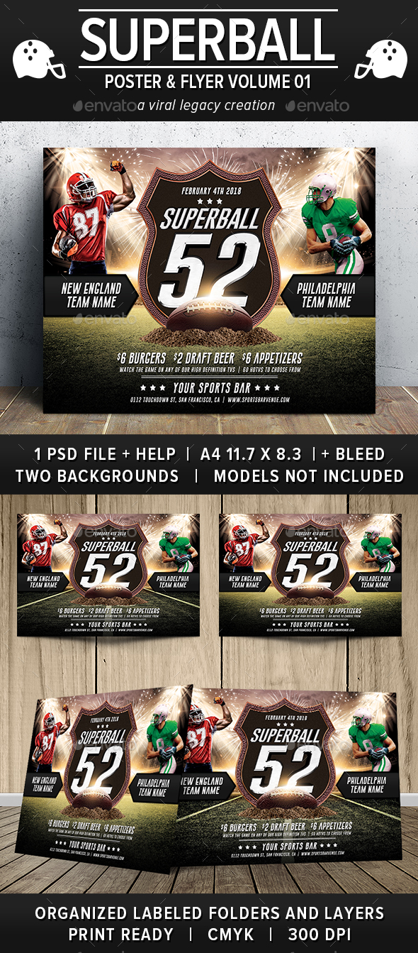 Superball Football Poster / Flyer V01 - Flyers Print Templates