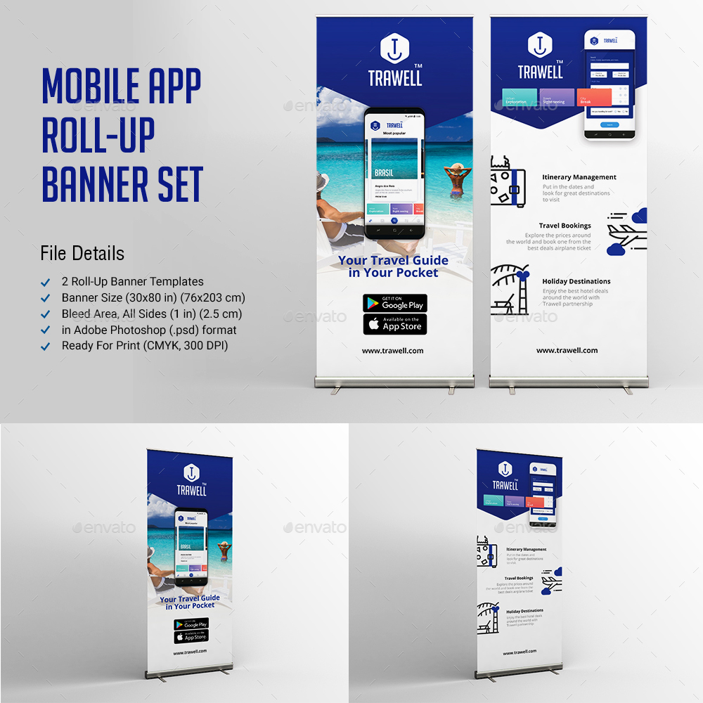 Mobile App Roll Up Banner Set by sezginavci91 | GraphicRiver
