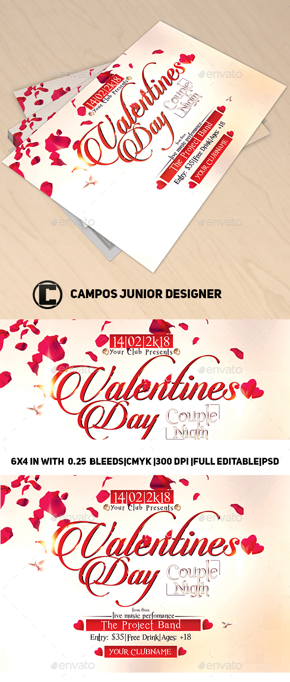 Valentines Day Couple Nigth-Flyer Template - Clubs & Parties Events