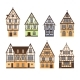 Set of Isolated Colored Half Timbered Buildings