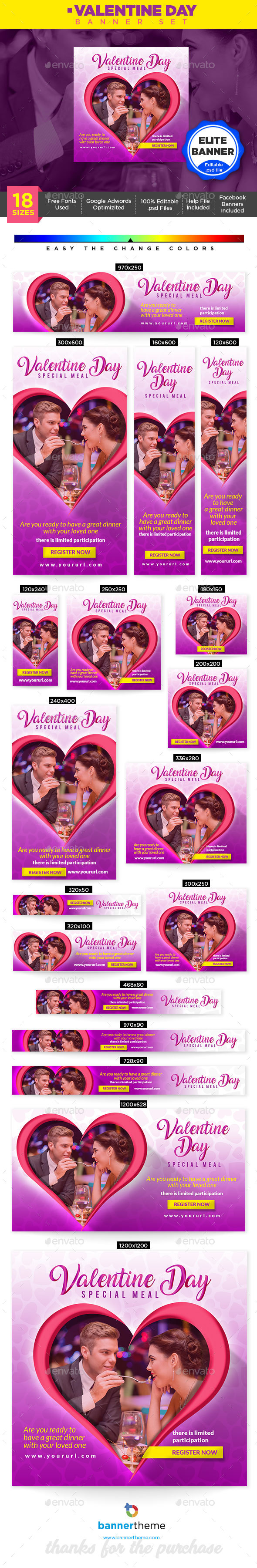 Valentine Day Banner - Banners & Ads Web Elements