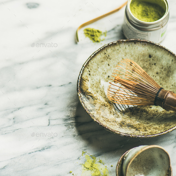 Japanese tools for brewing matcha tea, marble background, square crop - Stock Photo - Images