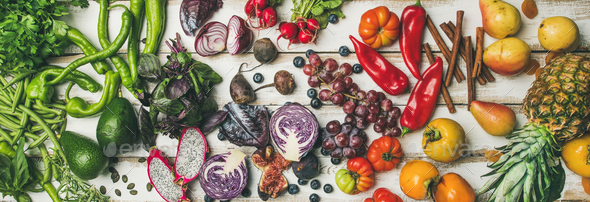 Helathy raw vegan food cooking background, top view - Stock Photo - Images