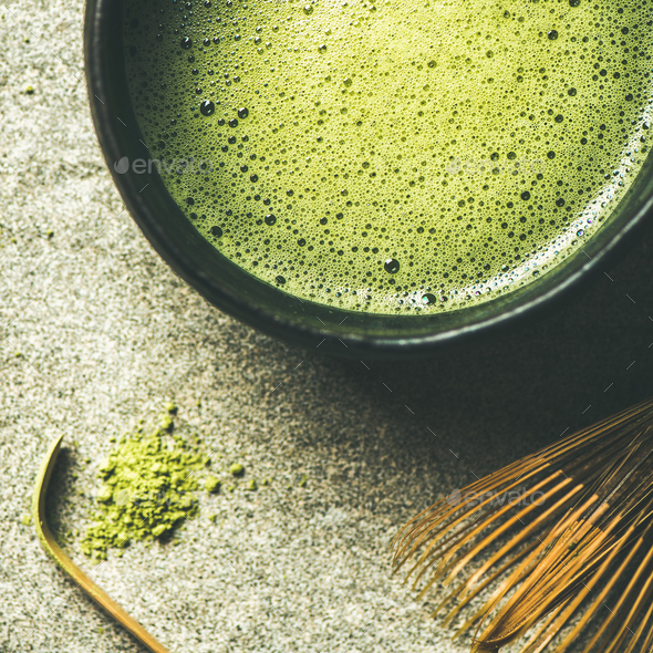 Flat-lay of freshly brewed Japanese matcha green tea, square crop - Stock Photo - Images