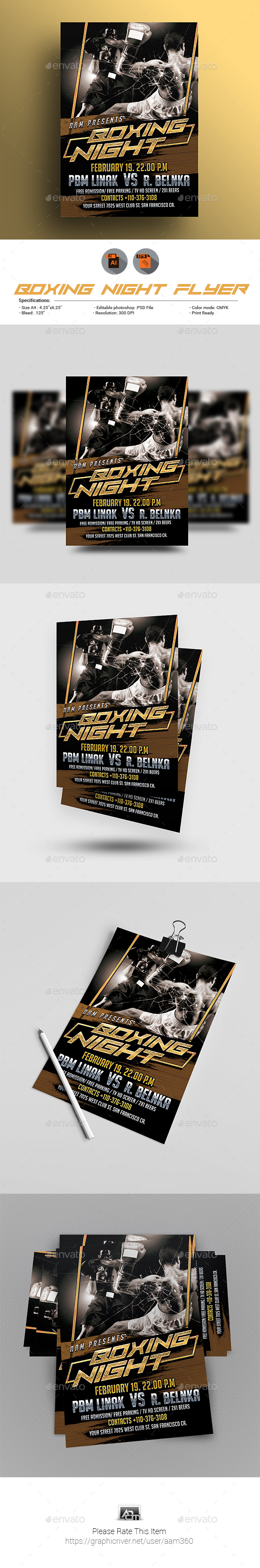 Boxing Night Flyer Template - Sports Events