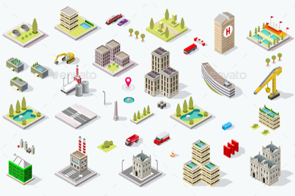 Isometric City Building Set - Buildings Objects