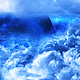 Blue Clouds in Space and Planet with the Big Blue Star - VideoHive Item for Sale