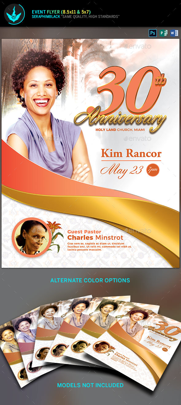 White Gold plus Peach Church Anniversary Flyer Template - Church Flyers