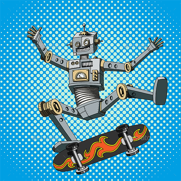 Pop Art Robot on Skateboard - Miscellaneous Characters
