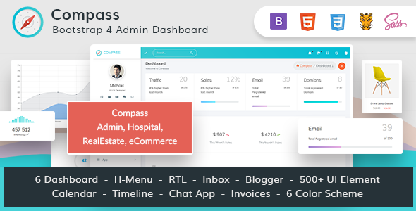 Compass Bundle -Bootstrap 4 Admin for Hospital RealEstate eCommerce - Admin Templates Site Templates