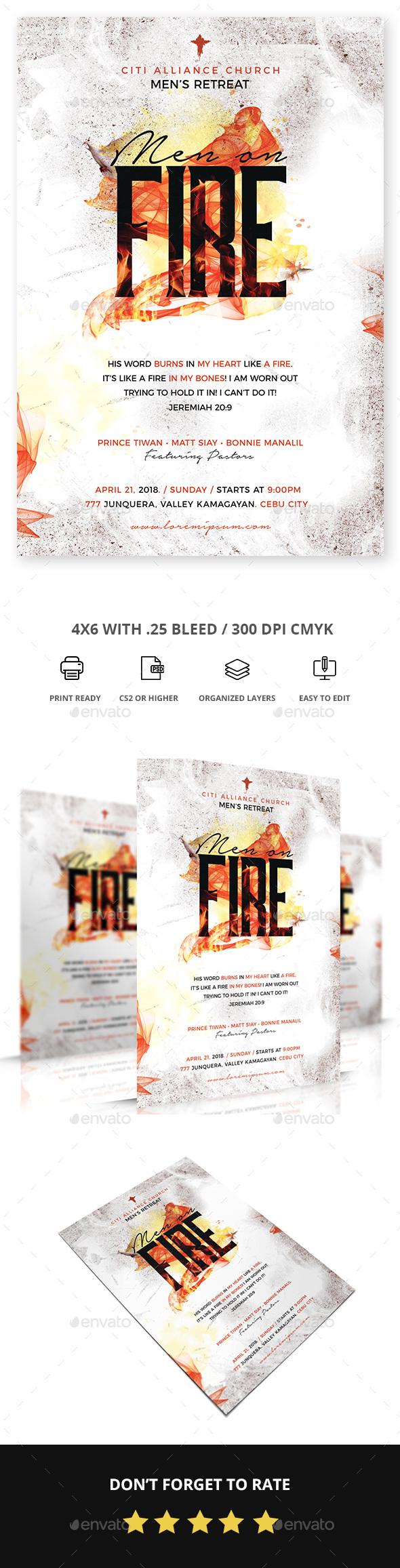 Men on fire Church Flyer - Church Flyers