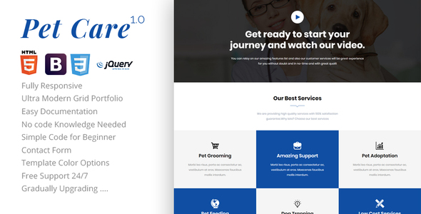 Petcare - One Page HTML Template