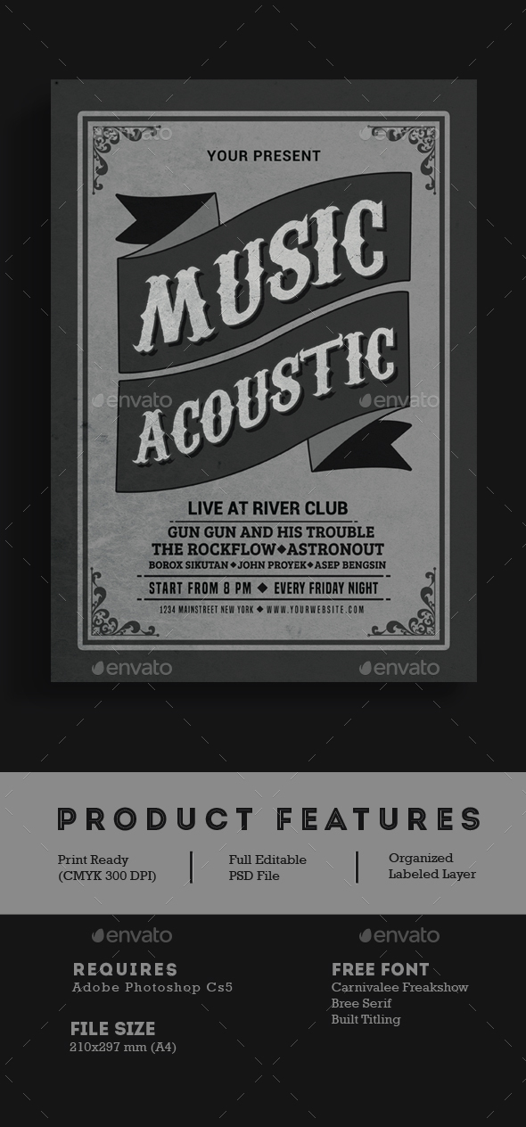 Vintage Music Acoustic Flyer - Events Flyers