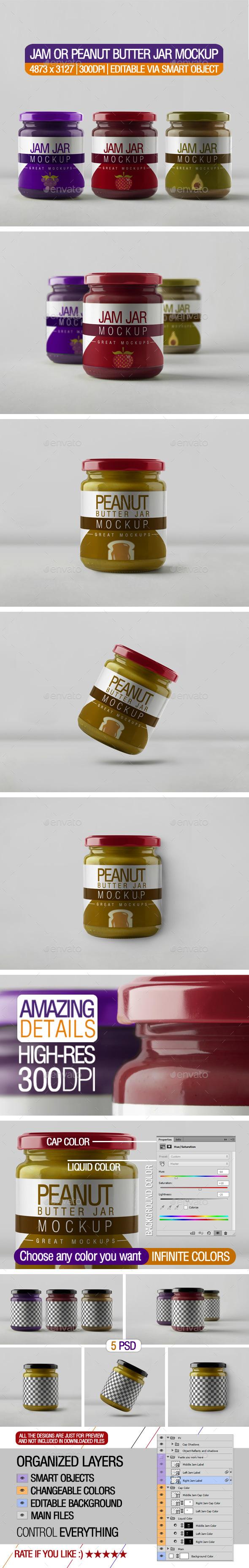 Jam or Peanut Butter Jar Mockup - Food and Drink Packaging