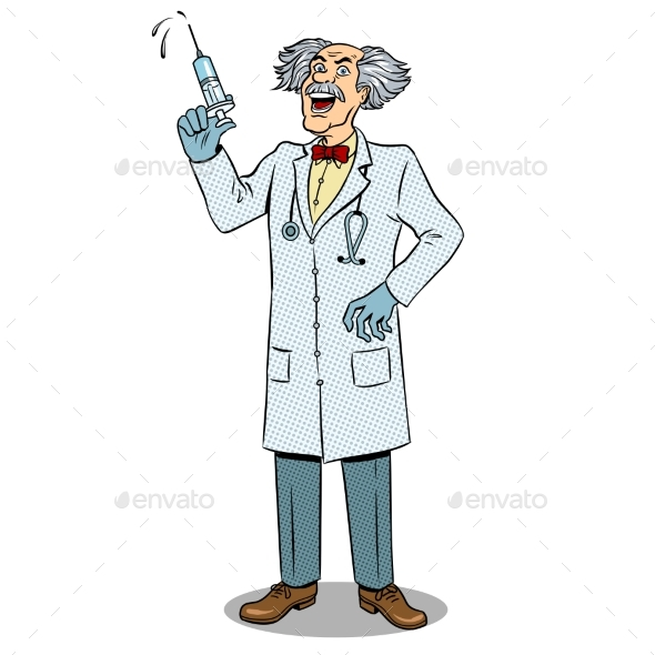 Mad Doctor with Syringe Pop Art Vector - People Characters
