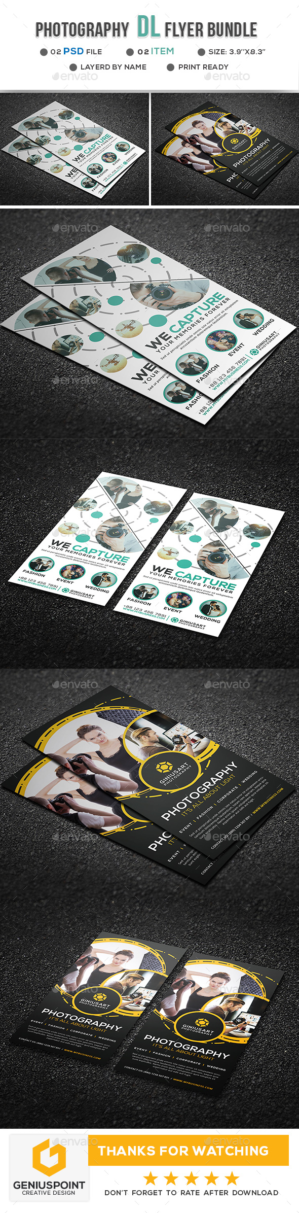 Photography DL flyer Bundle - Flyers Print Templates