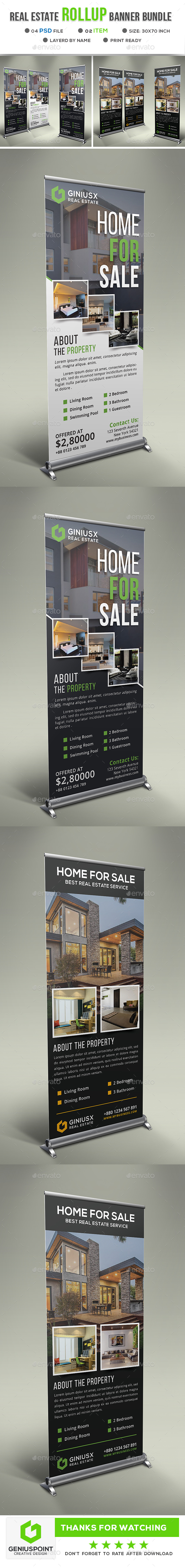 Real Estate Roll Up Banner Bundle - Signage Print Templates