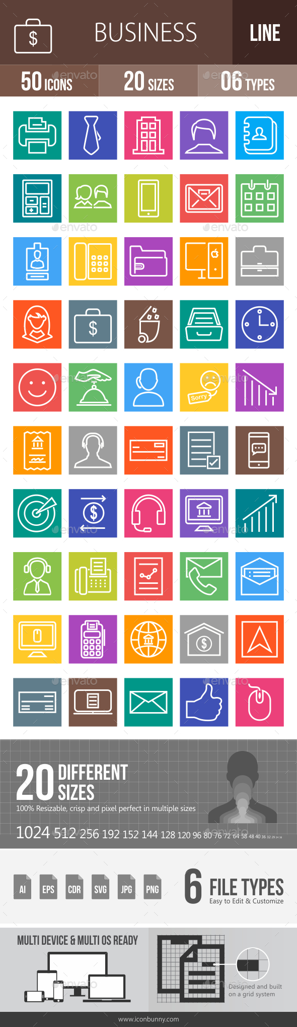 50 Business & Finance Line Multicolor B/G Icons - Icons
