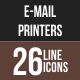 26 Email & Printer Line Multicolor B/G Icons