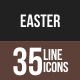 35 Easter Line Multicolor B/G Icons