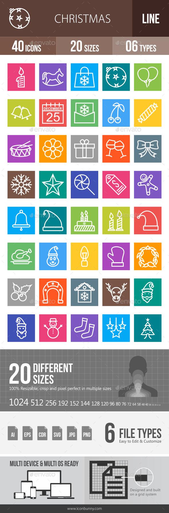 40 Christmas Line Multicolor B/G Icons - Icons