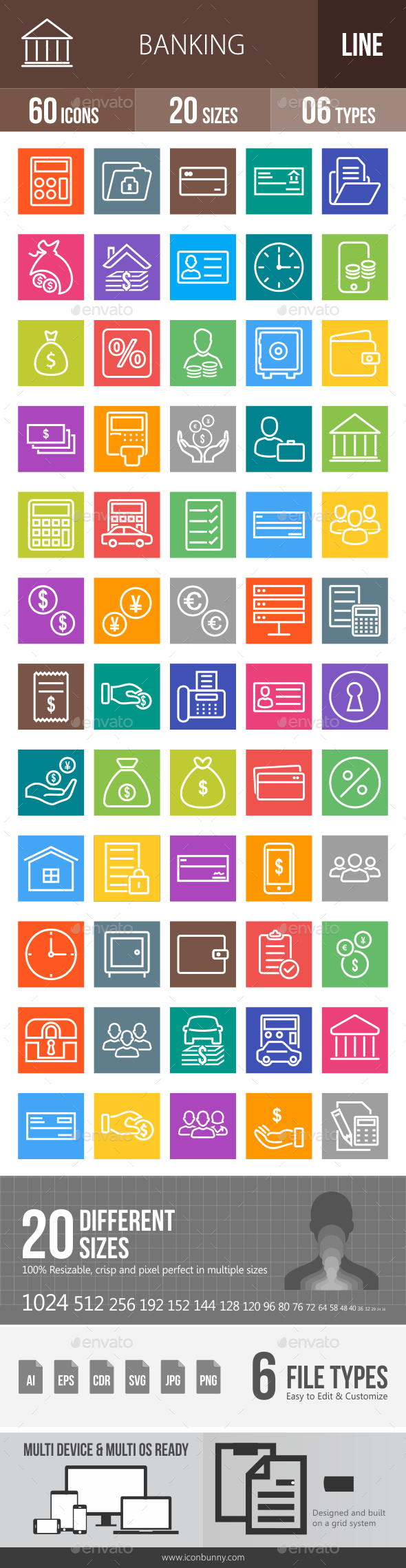 60 Banking Line Multicolor B/G Icons - Icons