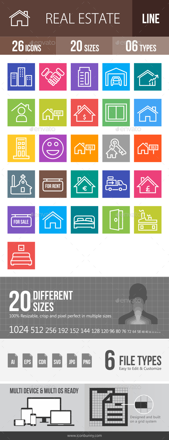 26 Real Estate Line Multicolor B/G Icons - Icons