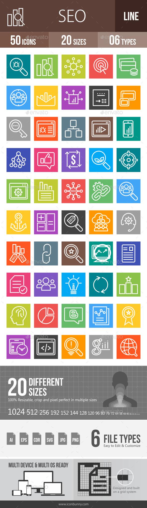 50 SEO Line Multicolor B/G Icons - Icons