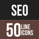 50 SEO Line Multicolor B/G Icons
