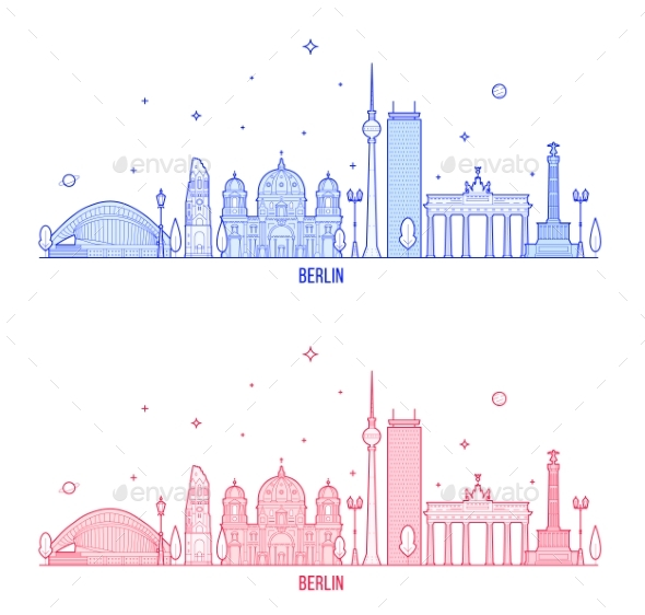Berlin Skyline Germany City Buildings Vector - Buildings Objects