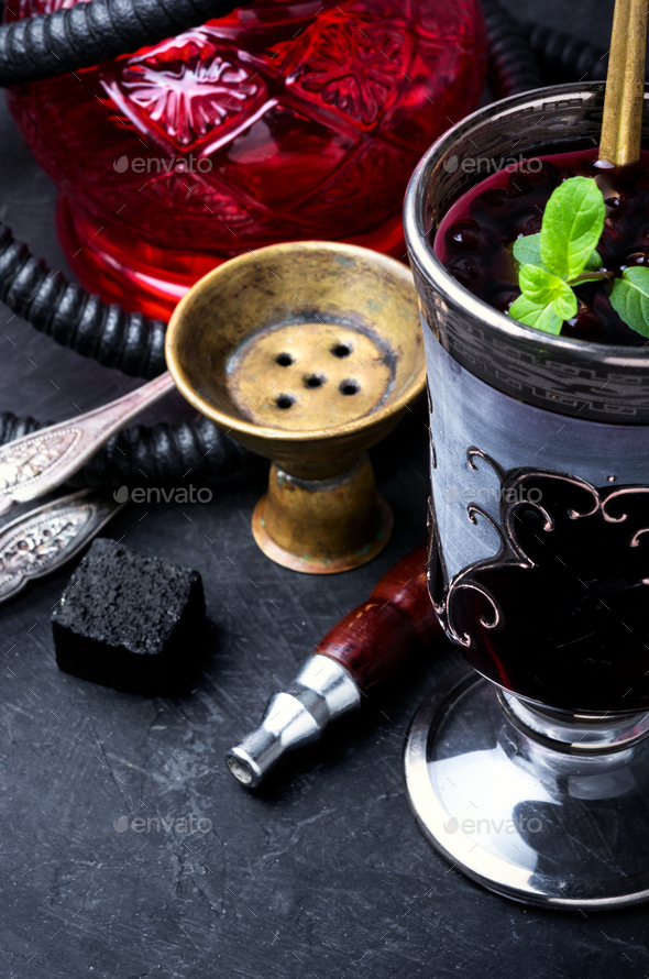 hookah with alcohol cocktail - Stock Photo - Images