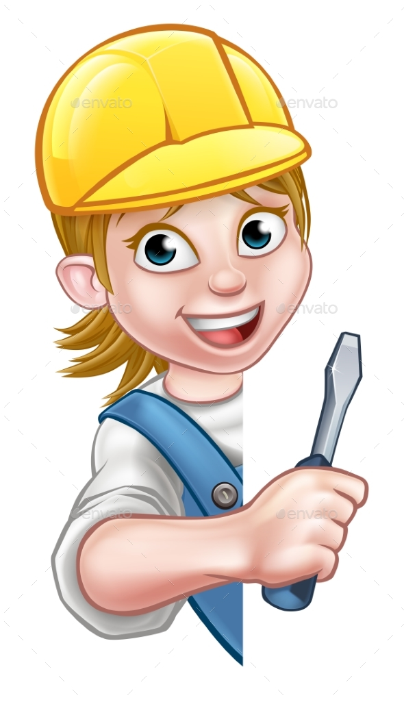 Electrician Builder Woman Cartoon Character - People Characters
