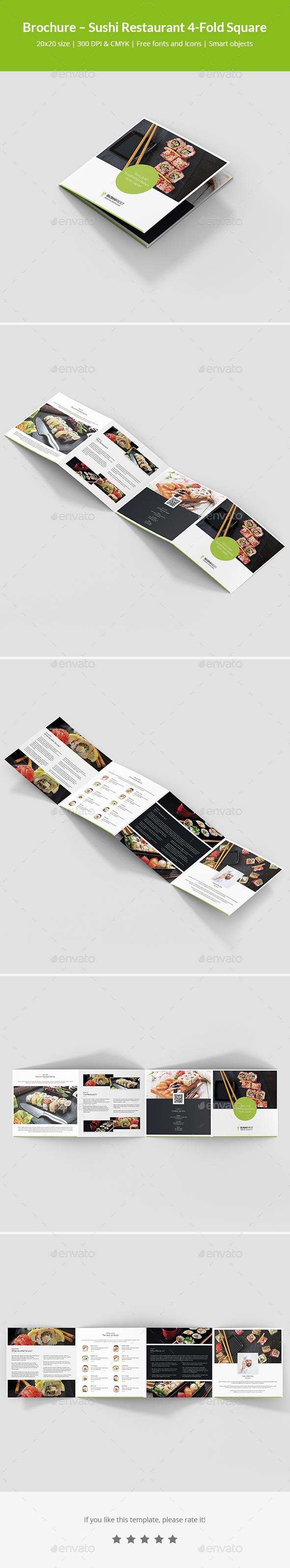 Brochure – Sushi Restaurant 4-Fold Square - Informational Brochures