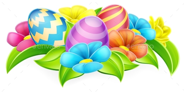 Cartoon Decorated Easter Eggs and Flowers - Miscellaneous Seasons/Holidays