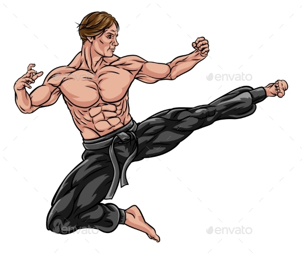Karate Kung Fu Flying Kick Man Cartoon - Sports/Activity Conceptual