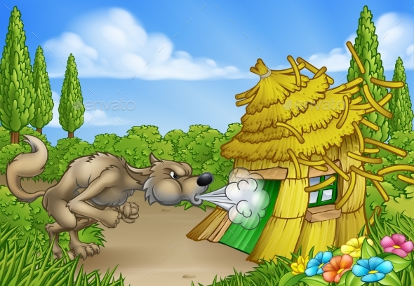 Three Little Pigs Big Bad Wolf Blowing Down House - Miscellaneous Vectors