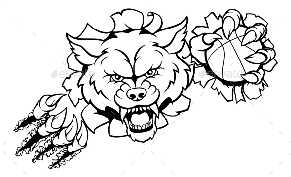 Wolf Basketball Mascot Breaking Background - Sports/Activity Conceptual
