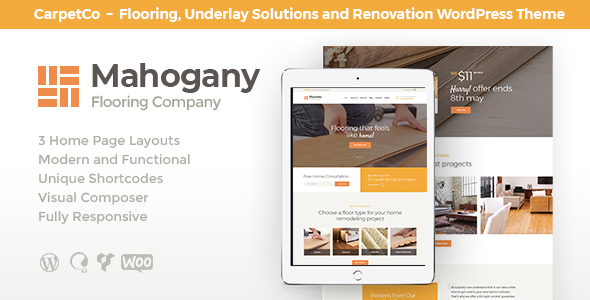 Mahogany | Flooring Company WordPress Theme - Retail WordPress